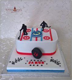 Hockey cake - cake by Tortolandia Birthday Cakes For Men, Cakes For Boys, 10th Birthday, Birthday Fun, Birthday Ideas, Hockey Cakes, Hockey Party, Cake Board, Take The Cake
