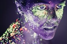 Hid Saib, from Brazil, creates unusual images by using specks of fluorescent paint illuminated by ultra-violet light to produce portraits that glow Neon Painting, Light Painting, Portraits, Portrait Photographers, Kunst Party, Fluorescent Paint, Neon Photography, Photography Series, Stunning Photography