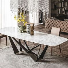 Cattelan Italia Skorpio Keramik Dining Table by Paolo Cattelan - Chaplins Marble Top Dining Table, Dining Table Design, Dining Room Table, Marble Tables, Metal Dining Table, Oval Table, Modern Dining Table, Table Lamps, Dining Set