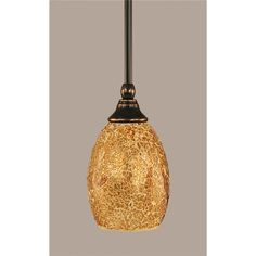 "23-BC-4175 - Toltec 23-BC-4175 Stem Mini Pendant Shown In Black Cooper Finish With 5"" Gold Fusion Glass - GoingLighting"