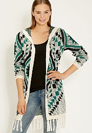 hooded ethnic patterned cardigan with fringed hem - maurices.com