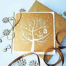 Papiernictvo - Vianočná pohľadnica * Darček na strome - 7299684_