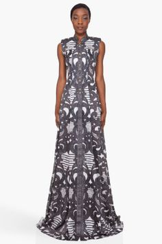 BALMAIN  Spiral Print Silk Dress