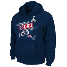 $49.99 from FansEdge - New England Patriots Navy Super Bowl XLVI On Our Way IV Hooded Sweatshirt - This sweatshirt features a front pouch pocket, drawstring hood and vibrantly colored team graphics to show everyone your New England Patriots are Super Bowl bound. http://www.fansedge.com/New-England-Patriots-Navy-Super-Bowl-XLVI-On-Our-Way-IV-Hooded-Sweatshirt-_-142161148_PD.html?social=pinterest_020212_superbowl
