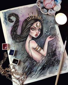 Queen of scorpions Commission. #artstagram #beautifulbizarre #scorpion #zodiacsign #sign #darkgirl #darkart #watercolorart #astrology