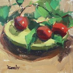 cathleen rehfeld • Daily Painting: Plums and Greens
