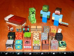 cake toppers. lego blocks covered with print outs