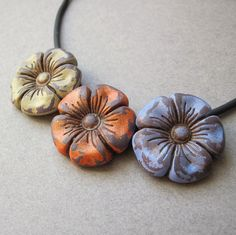 Victorian Shabby Chic Flower Necklace on Black Cord by DandyBeads, $21.00