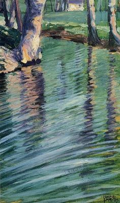 Trees Mirrored in a Pond by Egon Schiele on Curiator - http://crtr.co/2gs4.p