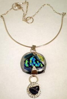Fused glass and agate torque, Sterling Silver. Jo Savage & FusJion.