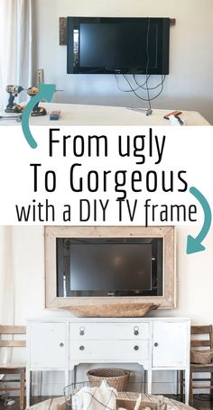 Want to hide that ugly television? Make your own TV frame with this simple DIY tutorial and create a stylish look for your home. #TwelveOnMain #diyprojects #homedecor #tvdecor #rusticdecor via @TwelveOnMain