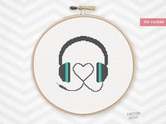 HEART MUSIC HEADPHONES counted cross stitch pattern radio musical headset retro wavelength electronic xstitch gear needlepoint diy pdf by PineconeMcGee