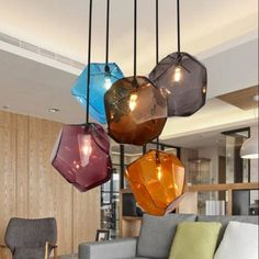 Details Zu Simple Lamp Stone Glass Pendant Lights Colorful Indoor Lighting  The Restaurant D