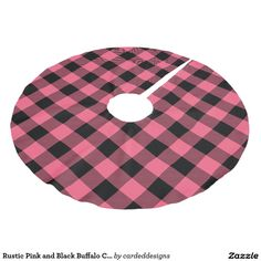 Rustic Pink and Black Buffalo Check Plaid Brushed Polyester Tree Skirt