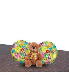 A cute little teddy-bear for someone who is sick and needs some good support to lift up and recover. Comes as a soft bear and 2 helium filled mylar balloons with  'Get well soon ' message.Note :For hospital deliveries Latex will be substituted by Mylar balloons.