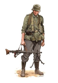 German Infantryman with his MG-34.