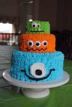 Monster Cake Idea. Top tier could be her pink monster smash cake.