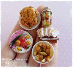 A set of miniature food.