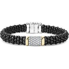 LAGOS Black Caviar Ceramic Bracelet with Pavé Diamonds and 18K Gold ($3,000) ❤ liked on Polyvore featuring jewelry, bracelets, womens jewellery, gold jewelry, black gold bracelet, black bangles and 18k gold bracelet