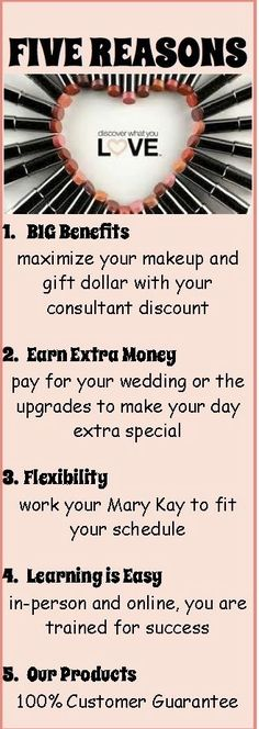 5 Reasons why the Mary Kay Opportunity is Perfect for the Bride-to-be.  Send me an email for more information at MelissaSlye@marykay.com