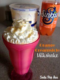 Orange Creamsicle Milkshake - so easy and so delicious.  www.SodaPopAve.com