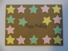 Star Happy Birthday Card  pastel colours by MegansPaperCreations, $3.25
