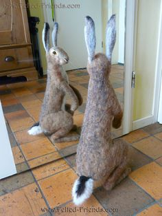 Do I look fat in this??? :-) needle felted hare, jack rabbit, by Bianca of Felted-Friends.com