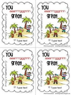 FREE  Pirate Valentine's Day cards that are EDITABLE for teacher or student to type in their name!  dreambigkinders.blogspot.com