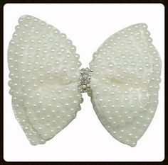 """4"""" Pearl & Rhinestone Hair Bow  Perfect for bridal parties"""