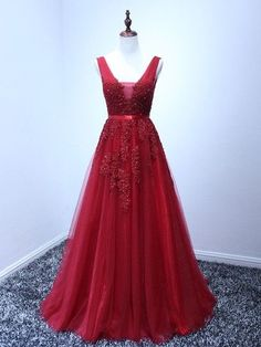 Princess V-neck Burgundy Tulle Appliques Lace Backless Prom Dresses #UKM02010204
