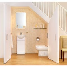 This Small Bathroom Design Under Stairs, Under Stairs Bathroom Planning, Read Article Bathroom Under Stairs, Basement Bathroom, Basement Stairs, House Stairs, Toilet Under Stairs, Bathroom Layout, Bathroom Storage, Understairs Toilet, Understairs Ideas