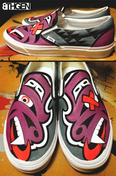 "Louie Gong. ""Hard Knocks Wolf."" Customized Vans. Native American artist. #nativeamerican"