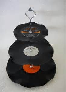 Tier Vinyl Record Cup Cake Stand  Say Wonderful Things To Me
