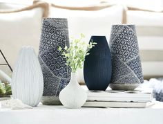 Koji Pattern Vases in navy blue