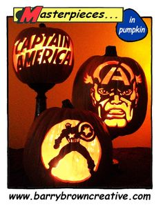captain america carved in pumpkin