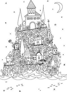 The Magic Path Coloring Book Awesome Castle Home House Abstract Doodle Zentangle Coloring Pages Colouring Adult Detailed Advanced Doodle Coloring, Coloring For Kids, Free Coloring, Coloring Book Pages, Printable Coloring Pages, Coloring Sheets, Doodle Art, Doodles Zentangles, Colorful Drawings