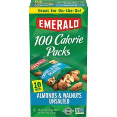 Emerald Nuts Natural Walnuts and Almonds, 100 Calorie Packs, 10 Ct Cereal Recipes, Snack Recipes, Emerald Nuts, Salad Toppings, 100 Calorie Snacks, Halloween Treats For Kids, 100 Calories, Portion Control, Yummy Snacks