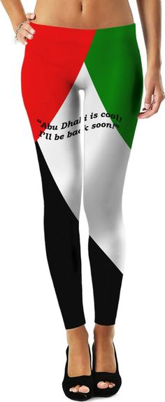 "Custom Leggings: ""Abu Dhabi is cool!"" Your fashionable, flamboyant Souvenir directly from Abu Dhabi proves that you travel the World, and are really not a couch potato! You are a fashionista! You know what is cool! The best thing about it is that You don't even have to leave home to get your fashionable souvenir normally available only in selected shops in Abu Dhabi, coz it comes by special courier directly to you! Neat statement also in German, Spanish, Italian and French language!"