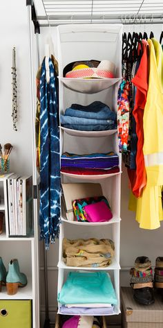 Hanging shelves to store pants, clutches, and more.