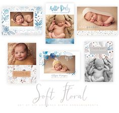 Soft Floral 5x7 WHCC Birth Cards by Oh Snap Boutique on @creativemarket