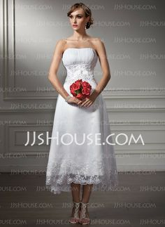 Wedding Dresses - $136.99 - A-Line/Princess Sweetheart Asymmetrical Organza Satin Wedding Dress With Lace Beadwork Sequins (002008177) http://jjshouse.com/A-Line-Princess-Sweetheart-Asymmetrical-Organza-Satin-Wedding-Dress-With-Lace-Beadwork-Sequins-002008177-g8177