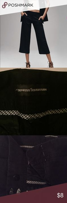 Black express cropped work pants-capris Black work trousers cropped mid-calf. Straight leg so they're a bit wide at the calf opening. Express Pants Ankle & Cropped