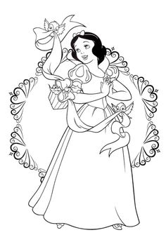 Princess Snow White Christmas Coloring Pages For Kids Printable Disney