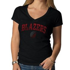 '47 Brand Portland Trail Blazers Ladies Arch Scrum V-Neck Slim Fit T-Shirt - #fanatics