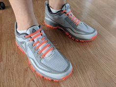Orange Erkies Silicone Shoelaces on Reebok's with Orange Soles Elastic Shoe Laces, Reebok, Orange, Sneakers, Shoes, Fashion, Tennis, Moda, Slippers