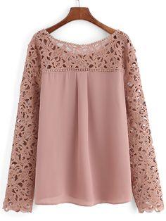 Blusa cuello redondo grande encaje gasa -rosa-Spanish SheIn(Sheinside) Sitio Móvil