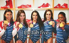 A diffrent pic of team USA Gymnastics same people different order so I'll name left to right- Kyla Ross,Makayla Maroney,Aly Raisman,Jordyn Wieber,Gabby Douglas! Go team USA! Us Olympic Gymnastics Team, Us Olympics, Sport Gymnastics, Summer Olympics, Olympic Games, Artistic Gymnastics, Gymnastics History, Gymnastics Competition, Gymnastics Quotes