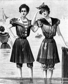 Women's swimming dresses in Femina magazine (Danish), 1898.