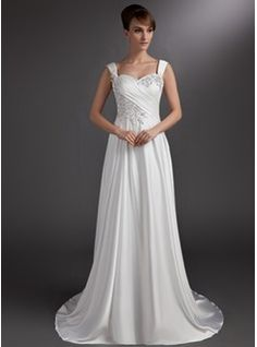 Wedding Dresses - $191.99 - A-Line/Princess Sweetheart Court Train Satin Chiffon Wedding Dress With Ruffle Lace Beading  http://www.dressfirst.com/A-Line-Princess-Sweetheart-Court-Train-Satin-Chiffon-Wedding-Dress-With-Ruffle-Lace-Beading-002016735-g16735