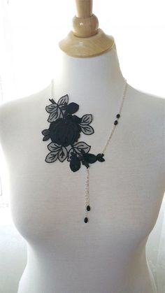 Black Lace Necklace Flower Asymmetrical Necklace by JoolaDesigns, $29.50